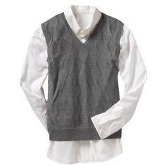 702a06287172 Argyle-Knit Sweater Vest - Heather Gray Plus Size Mens Clothing