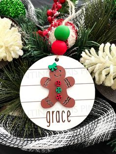 Gingerbread Cookie Wooden Engraved Ornament | Christmas | Holiday | Farmhouse Style | Shiplap Design by PaintingParisPink on Etsy