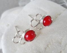 RED CORAL BLOSSOMS - Wire Post Earrings - Handmade Jewelry Wire Wrapped Coral Studs - Flower Tiny Posts, Elegant, Dainty, Minimalist Earring