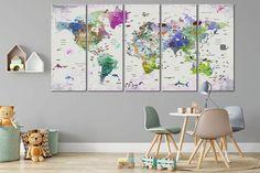 Bambini mondo mappa canvas Animale mondo mappa arredamento   Etsy Kids World Map, World Map Art, World Map Decor, Cool World Map, Nursery World, Map Nursery, Nursery Wall Decor, Nursery Canvas, Map Wall Art