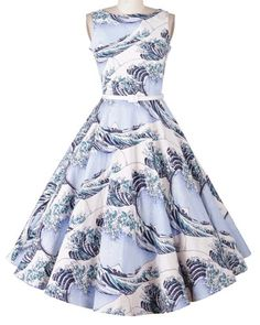 »Elegant Sleeveless Sea Wave Print Ball Gown Dress« #fashion #fashionandaccessories #sammydress