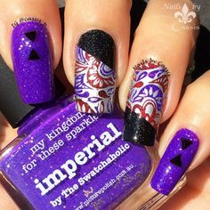 Nails by Cassis: Silver x Purple Paisley Mani #nails #nailart #nailstamping #moyoulondon