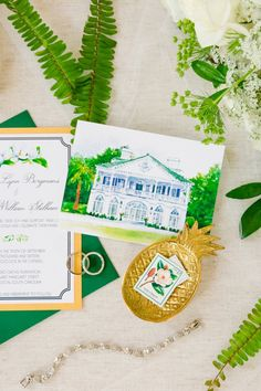 Custom Watercolor Painting of Lowndes Grove Invitation Suite | Gold, Black, White + Green Lowndes Grove Plantation Wedding by Charleston wedding photographer Dana Cubbage Weddings