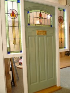 1930's Stained Glass Front Door Complete With Frame - Stained Glass Doors Company