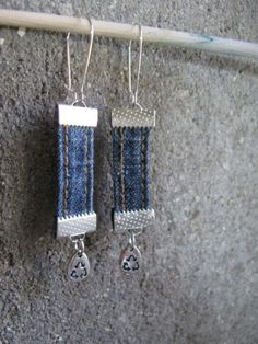 boucles d'oreilles en jean recyclé