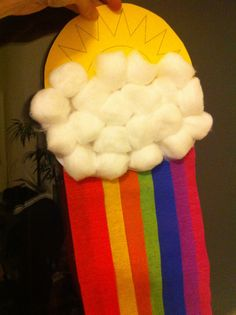 Sun/Cloud/Rainbow Weather craft for toddlers & kids:  yellow sun out of card stock, white cloud out of paper, crepe paper rainbow streamers.  For toddlers put double sided tape on cloud and let them stick on the cotton balls.  Older kids could cut out their own and use glue...although I like the no mess of tape!