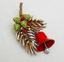 ART Christmas Bell and Fur Sprig Brooch