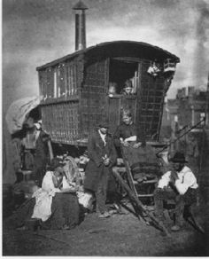 In Victorian England, we see the emergence of Gypsy caravans with horse-drawn wagons (vardos), and donkeys or mules in train.  Nomadic Gypsies still lived in tents—even in winter.  The Gypsy folk are noted at this time as tinkers, potters, basket makers, brush makers, and cheapjacks.  It is also in the nineteenth century that they become known as Travelers.It appears that the Gypsy population in Britain was about 13,000 by 1900