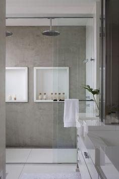 white . grey . double shower . minimalistic design .