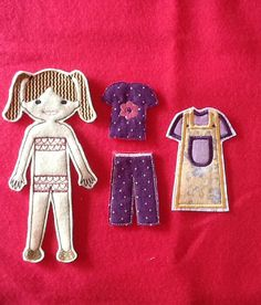 Machine Embroidery Design Felt Doll Set, Victoria, Un-Paper Dolls, Paper Doll Style for Personal and Commercial Use