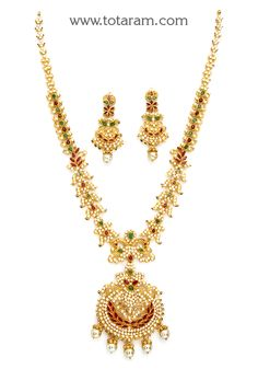 22K Gold 'Peacock' Long Necklace & Drop Earrings Set with Ruby,Emerald , Cz & South Sea Pearls - GS2811 - Indian Jewelry Designs from Totaram Jewelers