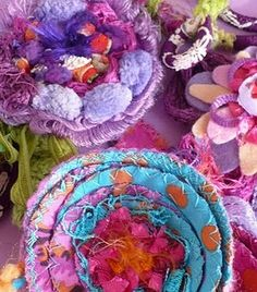This person's blog is full of things like this... this is a detail of fabric flowers...