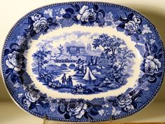 Blue and White China Blue Transferware Antique by MarlboroRoad
