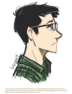"""High School!Cas by linneart - """"I found a guy who looks EXACTLY like how I imagined high school!Cas in my criminal justice class- with the glasses and dark hair and EVEN PLAID hopefully he doesn't mind that I will now be watching him for references ;D"""""""