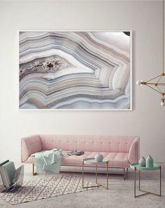 Scandinavian Bedroom with Mineral Print - Interior Design Ideas