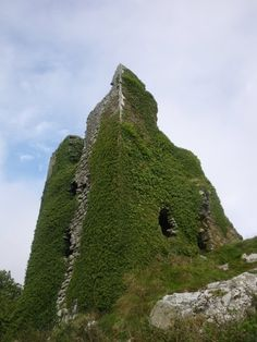 Dunhill Castle, near Tramore, Ireland, was built in the early 1200's.