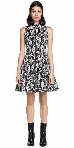 Dresses   Floral Print Sleeveless Zip-Front Dress
