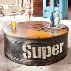Round Coffee Table Barrel Oil Drum Industrial Wood Metal Living Room Furniture for sale Drum Coffee Table, Coffee Table Furniture, Barrel Furniture, Round Coffee Table, Wood Furniture, Couch Table, Wood And Metal Table, Metal Accent Table, Accent Tables