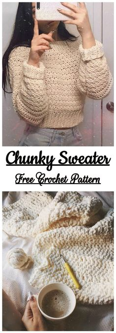 Chunky Sweater Free Crochet Pattern Chunky Sweater Free C. - Chunky Sweater Free Crochet Pattern Chunky Sweater Free Crochet Pattern Source by - Crochet Diy, Pull Crochet, Crochet Simple, Chunky Crochet, Diy Crochet Clothes, Crochet Tops, Crochet Beanie, Chunky Yarn, Learn Crochet