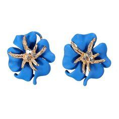 Sale 19% (2.79$) - Gold Plated Rhinestone Flower Petal Stud Earrings Women Jewelry