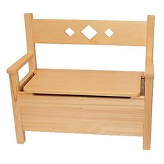 Obique Children's Furniture Solid Pine Bench and Storage Toy Box Natural Varnished