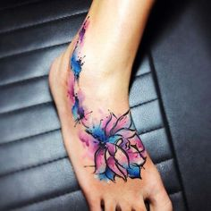 Watercolor Tattoo Miami by Leito