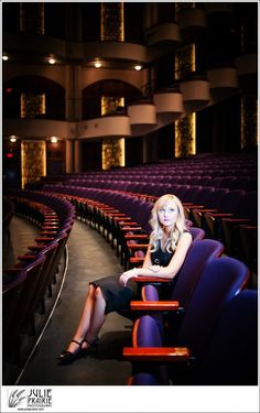 Washington Pavilion Sioux Falls - Senior Portraits in the theater, classic black dress, black heels, stunning blonde curls on this amazing senior girl!