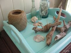 Turquoise wood tray makeover.