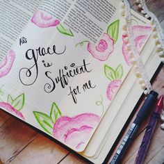 His grace is sufficient for me. Journaling Bible Corinthians. @whitsrunningstitch