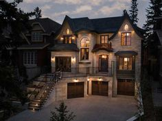 What do you think of this luxurious stone home in Calgary, Alberta, Canada-We make a living by what we get, but we make a life by what we giveTag your photos with Dream House Exterior, Dream House Plans, Family House Plans, Colonial House Exteriors, Dream Home Design, Modern House Design, Casas The Sims 4, Dream Mansion, Luxury Homes Dream Houses