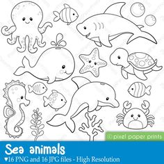 Sea Animals - Digital stamps 16 designs for your summer crafts.