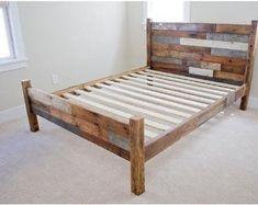 Twin bed frame plans twin bed frame easy fresh bedroom furniture pallet bed frame ideas new . Reclaimed Wood Bed Frame, Pallet Bed Frames, Wood Pallet Beds, Diy Pallet Bed, Wooden Bed Frames, Pallet Furniture, Bedroom Furniture, Furniture Ideas, Wooden Pallets