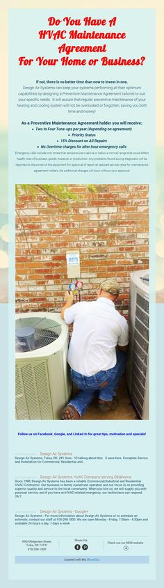 Do You Have A HVAC Maintenance Agreement For Your Home or Business?