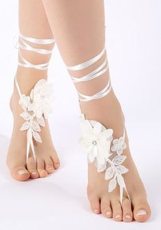 Free Ship bridal anklet ivory Beach wedding by ByMiracleBridal