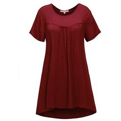 Regna X Women& Short Sleeve Round Neck Solid Color Casual Tunic Shirts Wine L Tunic Shirt, Tunic Tops, Cowl Neck, Winter Outfits, Short Sleeve Dresses, Wine, Casual, How To Wear, Shirts