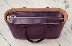 Hand-grained, hand-colored violetta Business Tote with hand-colored violetta belgian linen and magenta lining; 17 x 13 x 4″ - topdown view www.glaserdesigns.com glaserdesigns.wordpress.com