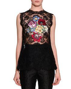 Dolce & Gabbana Sleeveless Floral-Applique Lace Tunic, Black/Multi