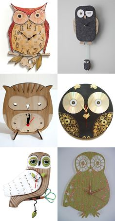 A variety of owl clocks on My Owl Barn - The one on the centre-right is my favourite, and it actually fits with my room's decor.  <3