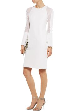 Cushnie et OchsMesh-paneled stretch-ponte dress