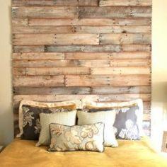 Reclaimed wood headboard - this link has lots of creative headboard ideas!