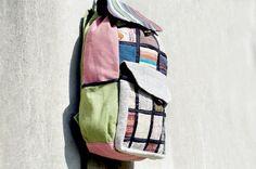 民族手感針織棉麻拼接後背包 / 旅行背包 / 肩背包 - 自然拼布繽紛天空