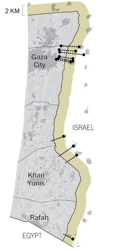 Map shows the location of around 30 tunnels found in Gaza in 2014. These tunnels were mostly constructed to attack Israeli military units and some of them can be two miles long.