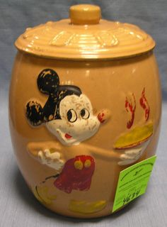 Early hand painted Walt Disney's Mickey Mouse cookie jar by Walt Disney productions scarce $250.00-$300.00  - MAY 2015