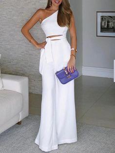Fashion for Women Gorgeous! Elegant Office Women White Casual Jumpsuit One Shoulder Cutout Tie Waist Wide Leg Jumpsuit Trend Fashion, Look Fashion, Womens Fashion, Fashion Fall, Classy Fashion, White Fashion, Fashion Design, Fashion Beauty, Long Jumpsuits