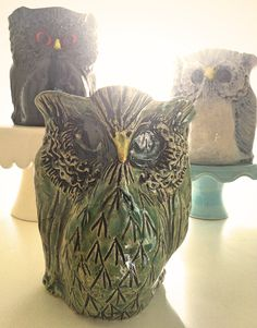 Hand-built Pottery Owls by Artreverie