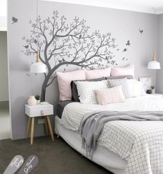 Scandinavian Bedroom Design Scandinavian style is one of the most popular styles of interior design. Although it will work in any room, especially well . Pretty Bedroom, Dream Bedroom, Home Bedroom, Bedroom Decor, Master Bedroom, Grey Wall Bedroom, Bedroom Inspo, Bedroom Feature Walls, Modern Bedroom