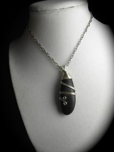 Beach Stone Necklace Pebble Jewelry BLACK Is The by SeaFindDesigns