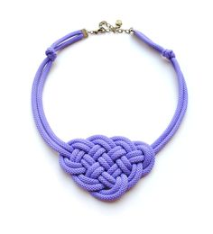 Violet Knot Necklace Rope Jewelry, Nautical Style, Big Sailor's Knot, Autumn Trends, Knotted Jewelry. $17.00, via Etsy.