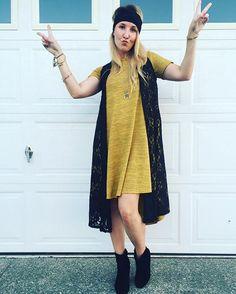 Lularoe Carly dress. Lularoe Joy vest. Black lace and mustard color.