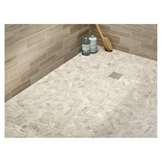 American Olean 12 x 12 Delfino Stone Arctic Topaz Pebble Mosaic Limestone Wall and Floor Tile